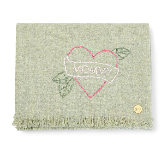 """Mommy"" Tattoo Embroidered Baby Alpaca Throw - Blanket"