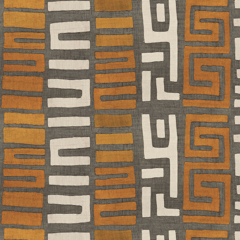 Amber Stripe Kuba Cloth - Fabric
