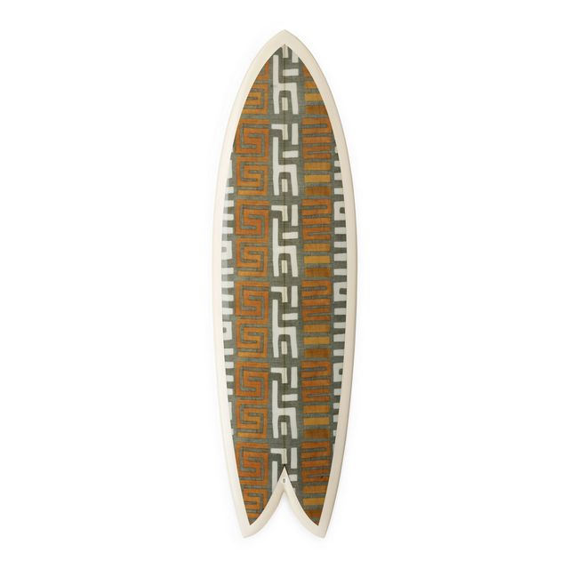 Amber Stripe Kuba Cloth Fish Surfboard - Art Object