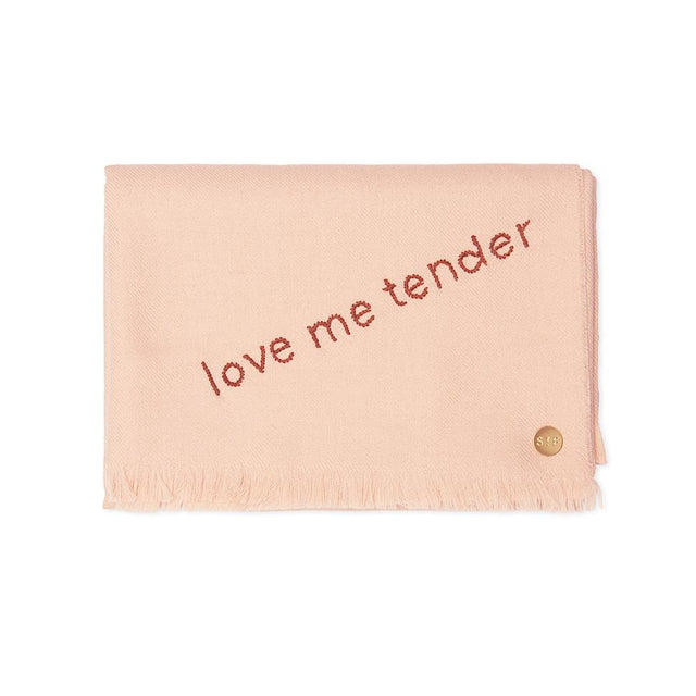 """Love Me Tender"" Embroidered Baby Alpaca Throw - Blanket"