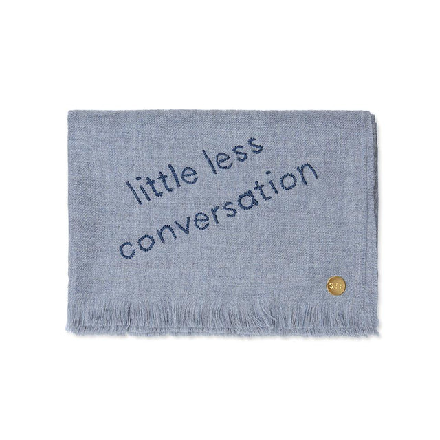 """Little Less Conversation"" Embroidered Baby Alpaca Throw - Blanket"