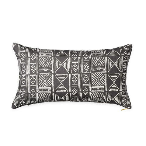 Charcoal Classic Mud Cloth - Lumbar Pillow