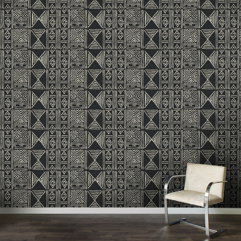 Black Classic Mud Cloth - Wallpaper