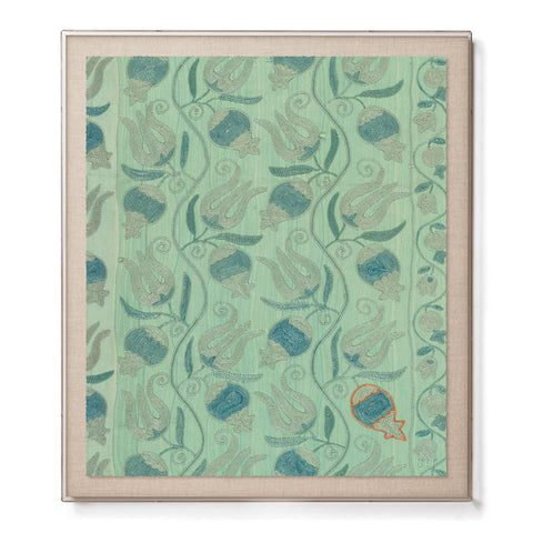 Aqua Pomegranate Suzani - Accent Framed Print