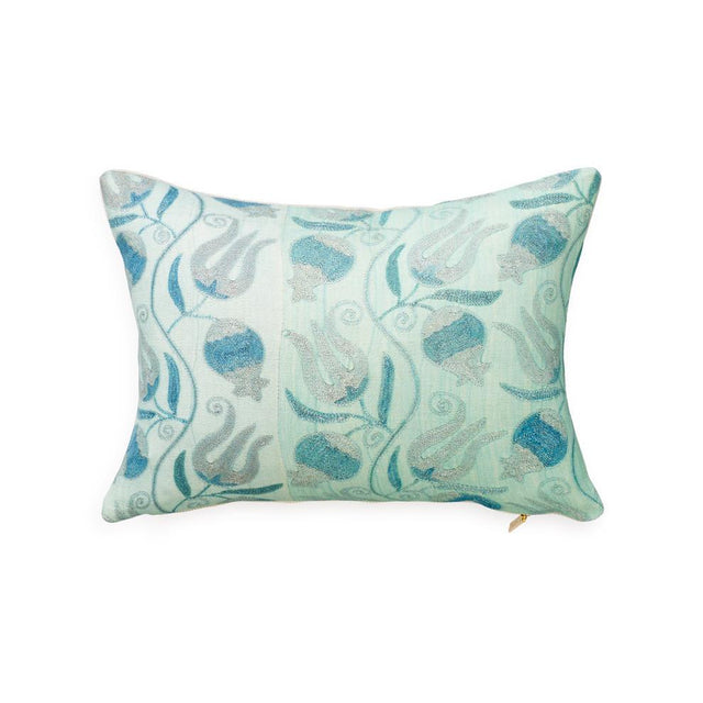 Aqua Pomegranate Suzani - Lumbar Pillow