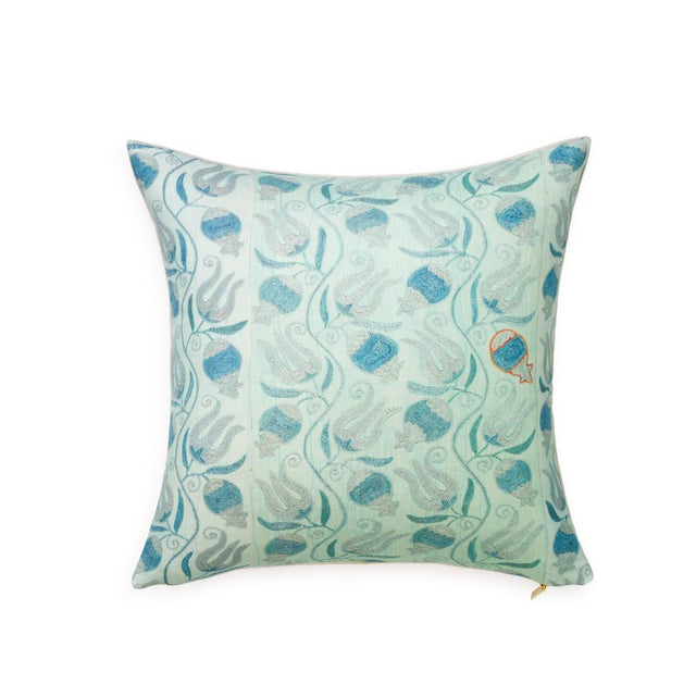 Aqua Pomegranate Suzani - Throw Pillow Pillow St. Frank
