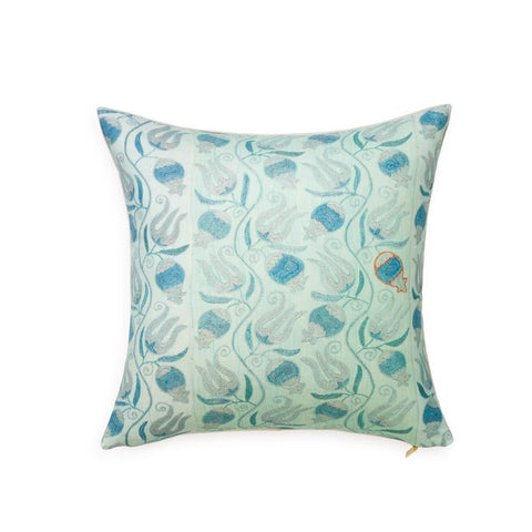 Aqua Pomegranate Suzani - Throw Pillow