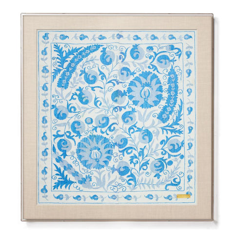 Blue Pomegranate Suzani II - Sublime Framed Textile