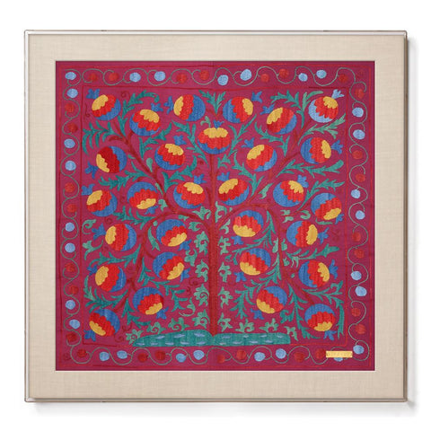 Pomegranate Tree of Life Suzani - Accent Framed Textile