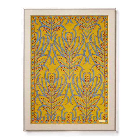 Silk Ochre Vines Suzani - Sublime Framed Textile