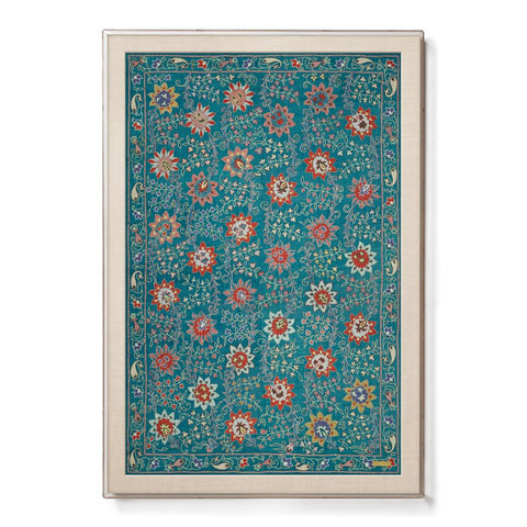 Silk Teal Floral Suzani - Sublime Framed Textile