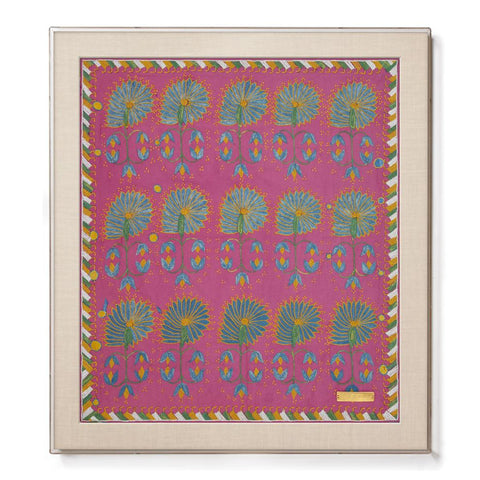 Pink Daisy Suzani - Accent Framed Textile