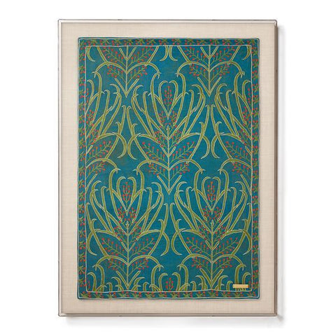 Silk Teal Vines Suzani - Sublime Framed Textile
