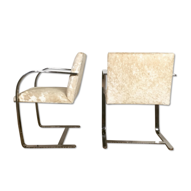 Mies Van Der Rohe BRNO Chair in Palomino and White Cowhide Store Furniture Forsyth
