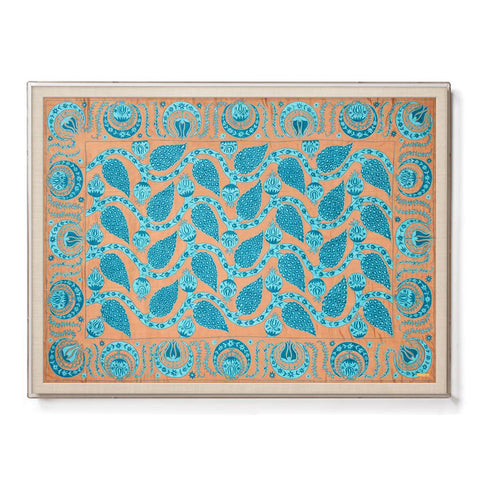 Silk Turquoise Pomegranate Suzani - Sublime Framed Textile