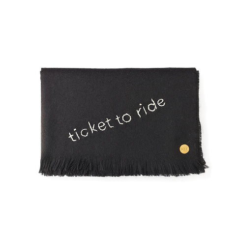 """Ticket to Ride"" Embroidered Baby Alpaca Throw - Blanket"
