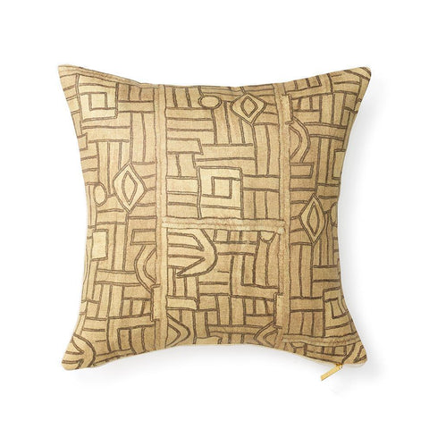 Golden Maze Kuba Cloth - Throw Pillow