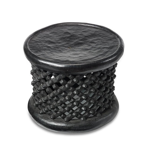 Black Bamileke Stool - Accent Table