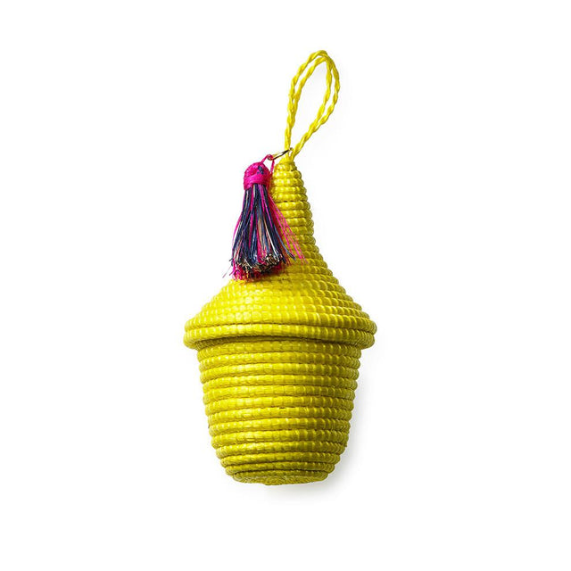 Basket Ornament - Canary Yellow Holiday Accent Rwanda