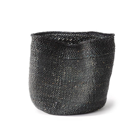 black hand woven basket from tanzania