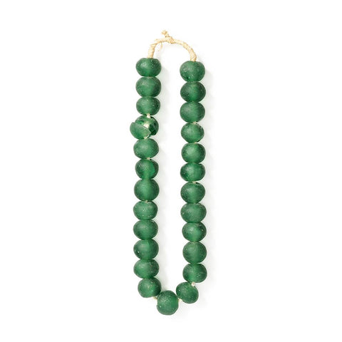 emerald green handmade glass beads from ghana