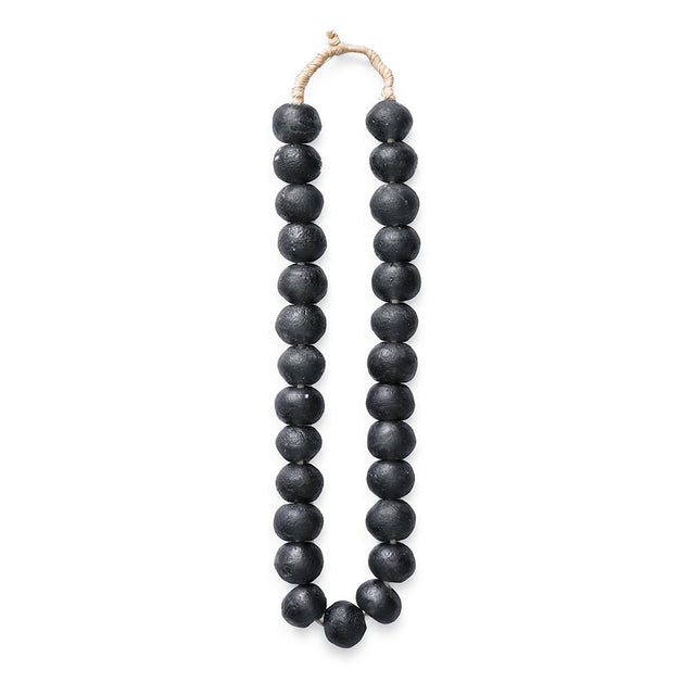 modern black glass beads handmade in ghana