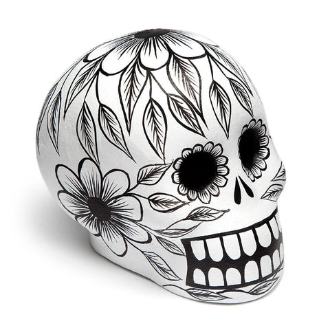 St. Frank Black Day of the Dead Skull Hand-molded in Mexico