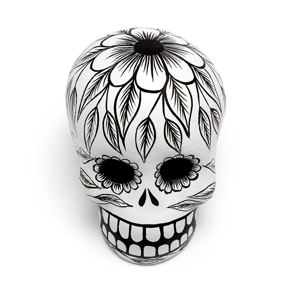 Black Day Of The Dead Skull Art Object