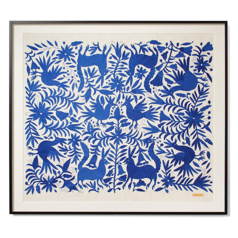 St. Frank Blue Tenango Sublime Large Scale Textile with Acrylic Shadowbox Frame