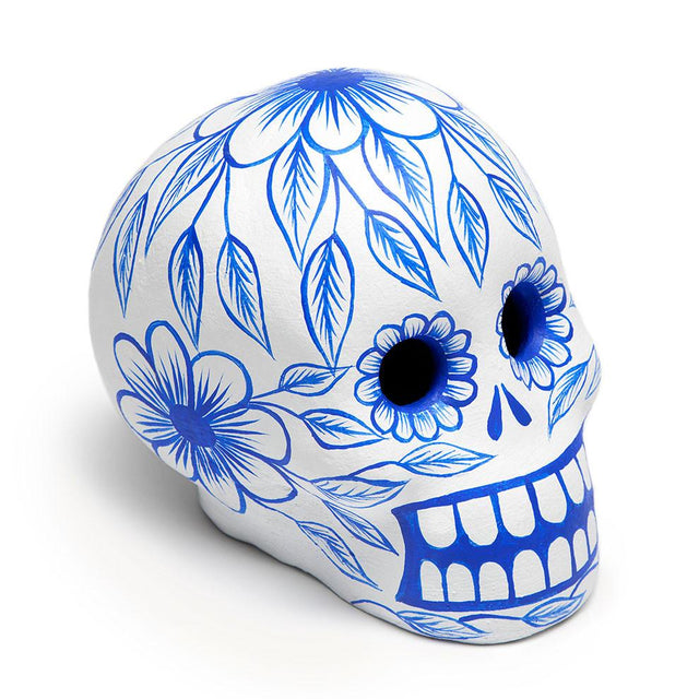 Cobalt Day of the Dead Skull - Art Object Curiosities Mexico Cobalt