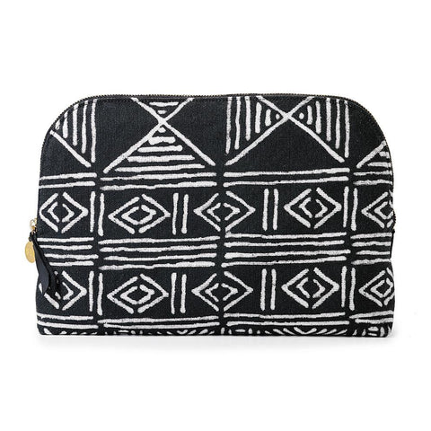 Black Classic Mud Cloth - Cosmetics Case