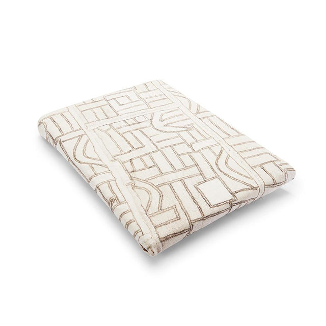 Ecru Maze Kuba Cloth Fitted Crib Sheet - Bedding Bedding Portugal