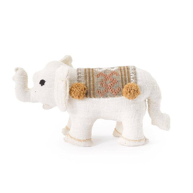 White Baby Stuffed Elephant - Decorative Accessory Gifts Laos
