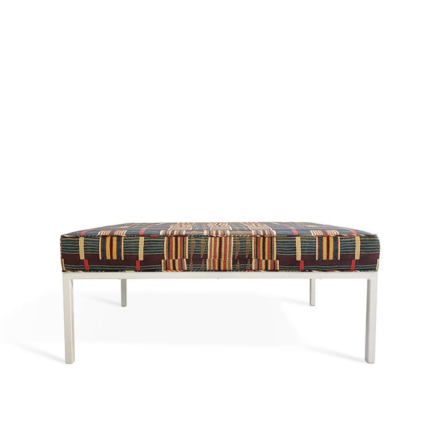 Ewe Kente - Modern Ottoman with White Legs Furniture Forsyth x St. Frank