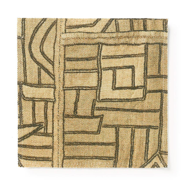 Golden Maze Kuba Cloth - Fabric Fabric by the Yard St. Frank