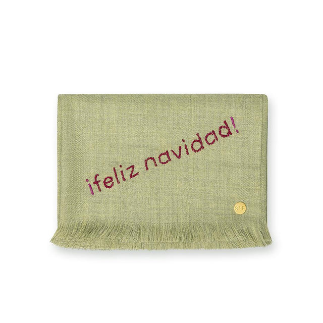 """Feliz Navidad"" Embroidered Baby Alpaca Throw - Blanket"