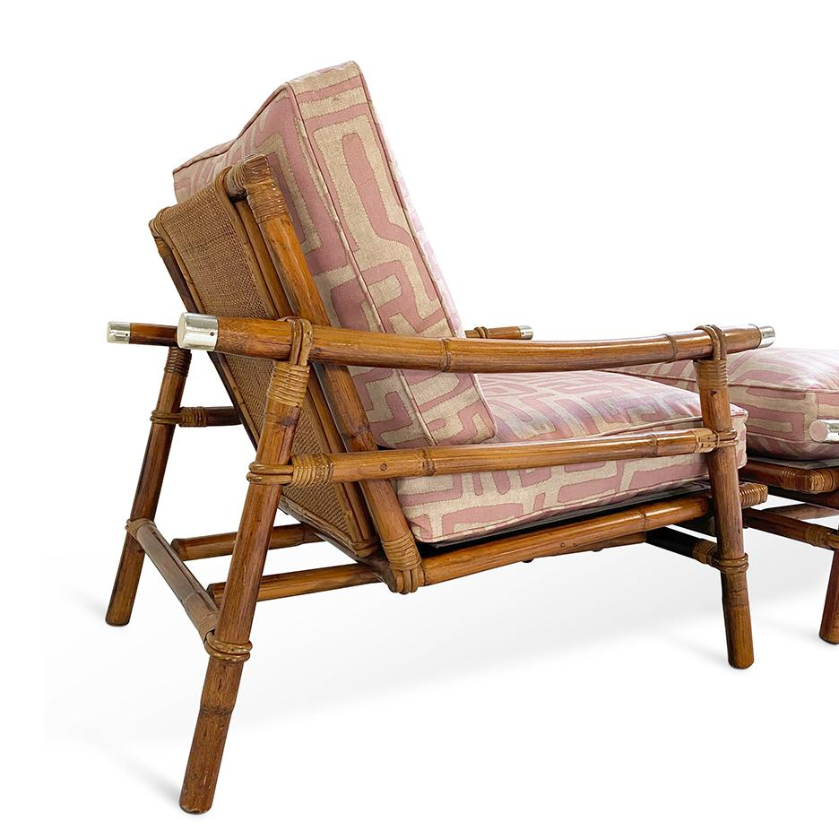 Terracotta Classic Kuba Cloth Ficks Reed Chair And Ottoman