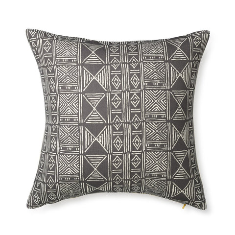 Charcoal Classic Mud Cloth - Floor Pillow
