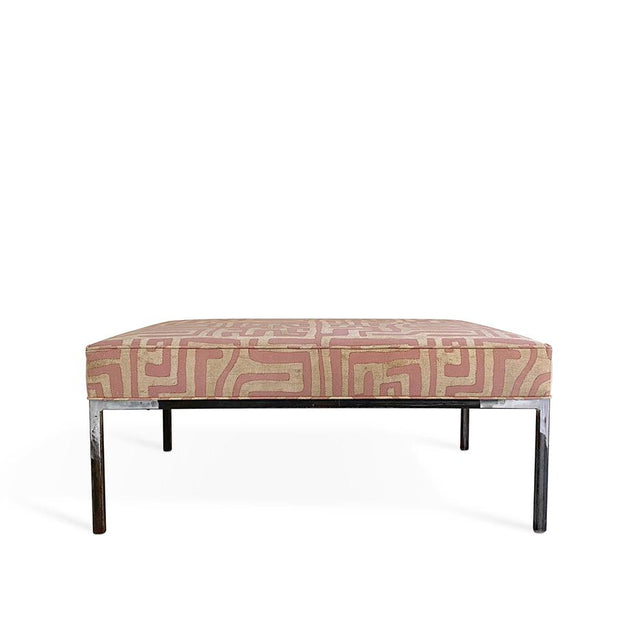 Terracotta Kuba Cloth - Modern Ottoman with Metal Legs Furniture Forsyth x St. Frank