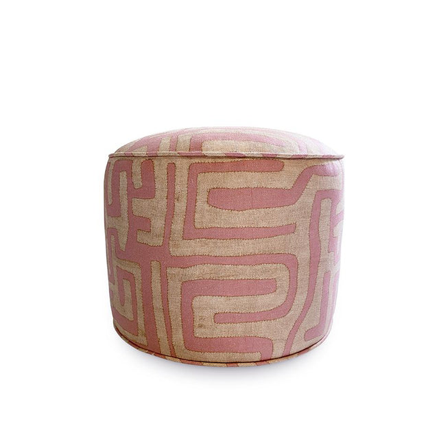 Terracotta Classic Kuba Cloth - Classic Pouf Furniture Forsyth x St. Frank