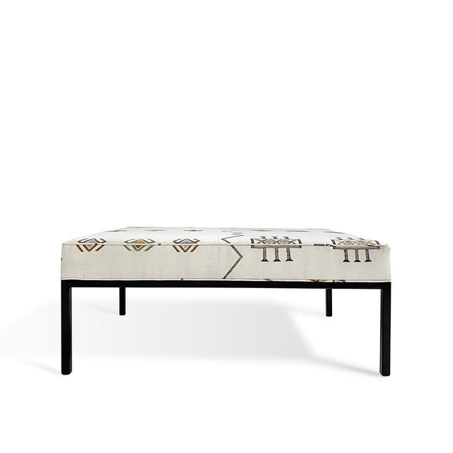 Ecru Cactus Silk - Modern Ottoman with Black Legs Furniture Forsyth x St. Frank