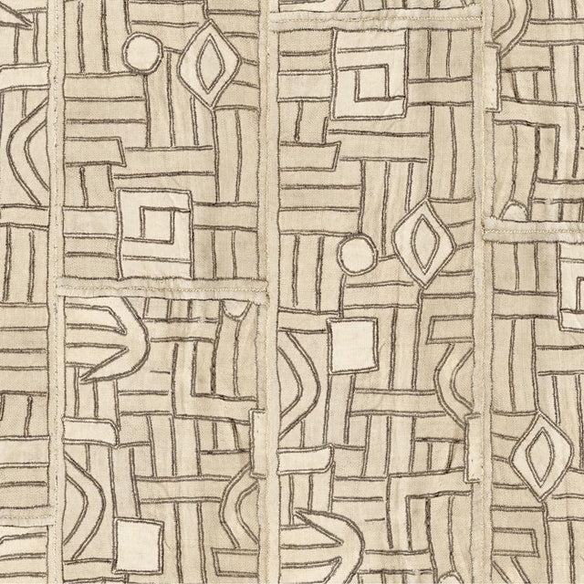 Ecru Maze Kuba Cloth - Wallpaper Yardage St. Frank