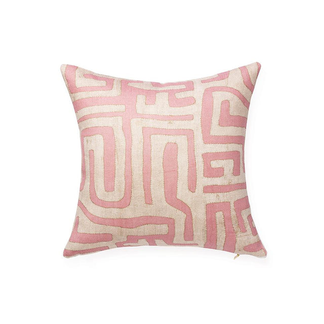 Terracotta Classic Kuba Cloth - Throw Pillow