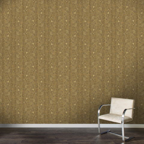 Golden Maze Kuba Cloth - Wallpaper