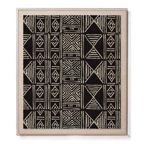 Black Classic Mud Cloth - Accent Framed Print