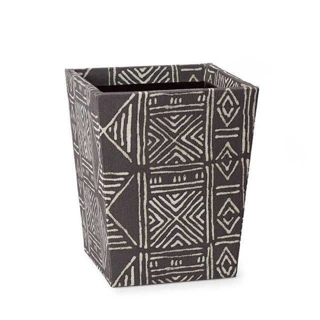 mud cloth waste basket for bohemian bathroom