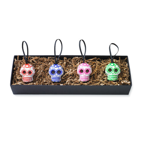 Day of the Dead Skull Ornaments - Set of Four