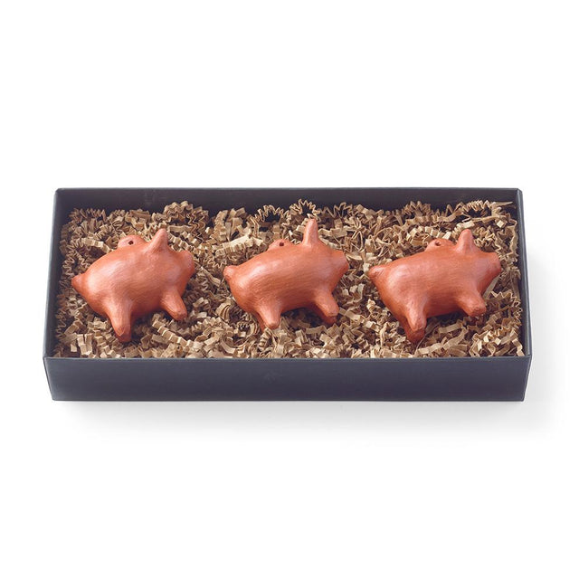 Red Clay Piggy Ornament - Set of Three Holiday Ornament Mexico
