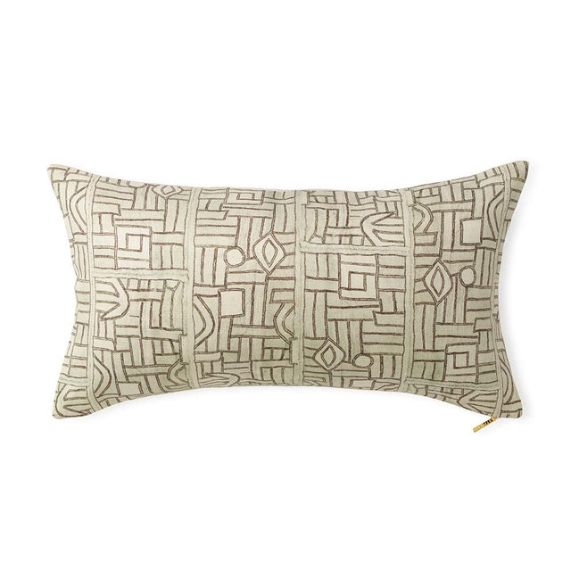 Ecru Maze Kuba Cloth - Lumbar Pillow