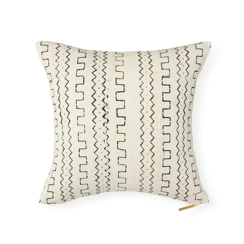Ecru Mud Cloth XVIX - Throw Pillow